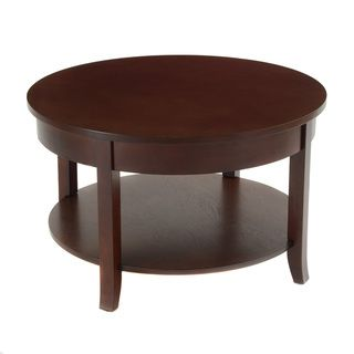 Bianco Collection Espresso 30 inch Round Lower Shelf Coffee Table