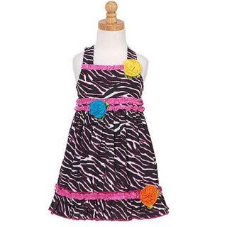 Sophias Style Girls Ruffled Zebra Print Dress