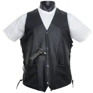 Tall Size Mens Leather Motorcycle Vest with Side Laces and Gun