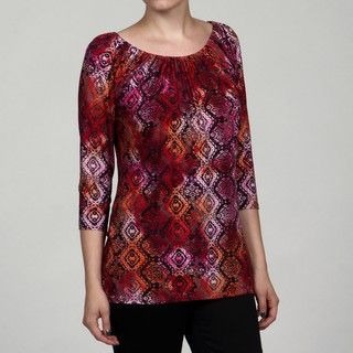 Annalee & Hope Womens 3/4 Sleeve Gathered Scoop Neck Printed Top