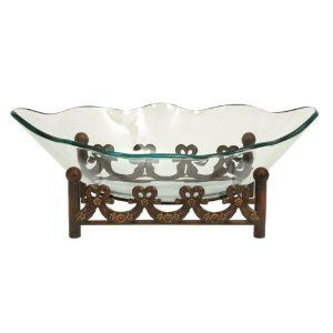 Exotic Glass Centerpiece Bowl with Beautiful Metal Stand