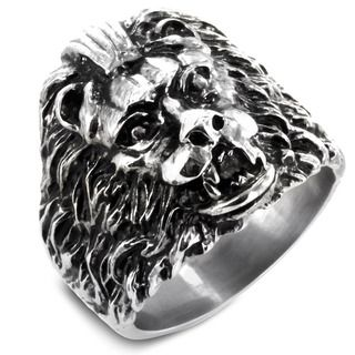 West Coast Jewelry Stainless Steel Ferocious Lion Cast Ring