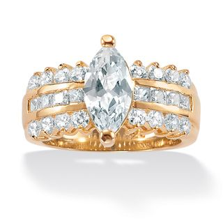 Ultimate CZ 14k Gold over Sterling Silver Clear Cubic Zirconia Ring
