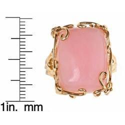 Yach 14k Yellow Gold Pink Opal Fashion Ring
