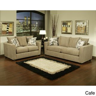 Alexa 2 piece Chenille Fabric Sofa and Loveseat Set