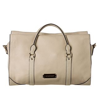 Burberry Small Beige Saddlestitch Leather Tote Bag