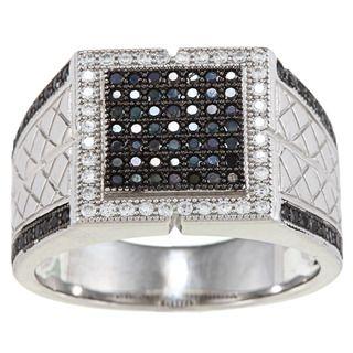La Preciosa Sterling Silver Mens Black and White Cubic Zirconia Ring