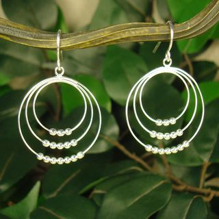 Jewelry by Dawn Triple Beaded Hoops Sterling Silver Earrings