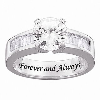Sterling Silver Engraved Cubic Zirconia Wedding style Ring