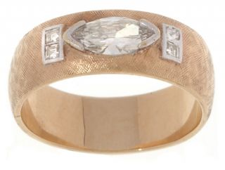 14k Yellow Gold 1ct TW Marquise Diamond Antique Band
