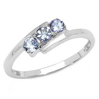 Malaika Sterling Silver Tanzanite Bypass Design Ring
