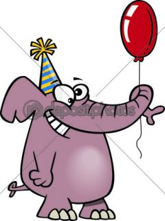 Clipart Happy Birthday Elephant Holding A Balloon  Stock Vector