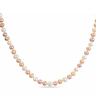 Miadora Freshwater Multi Pink Pearl Necklace with Silver Clasp (6.5