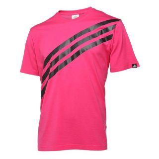 ADIDAS T Shirt Stripes Homme Rose et noir   Achat / Vente T SHIRT