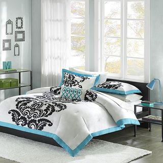 Mizone Santorini Teal/Black/White Cotton Full/Queen 4 piece Duvet Set