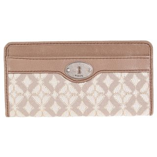 Fossil Womens Maddox Beige Leather Zip Clutch Wallet