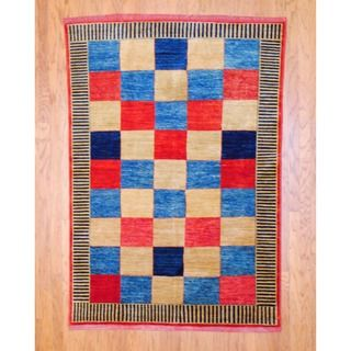Afghan Hand knotted Vegetable Dye Red/ Light Blue Wool Rug (5 x 72