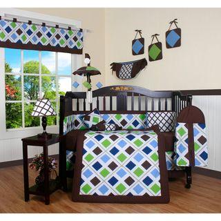 Blue Brown Diamond 13 piece Crib Bedding Set