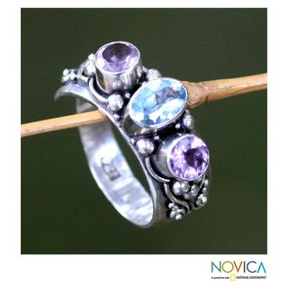 Sterling Silver Morning Joy Blue Topaz and Amethyst Ring (Indonesia