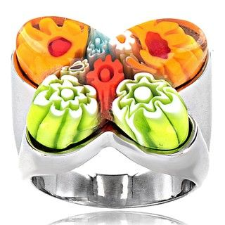 Stainless Steel Multicolored Glass Cocktail Ring