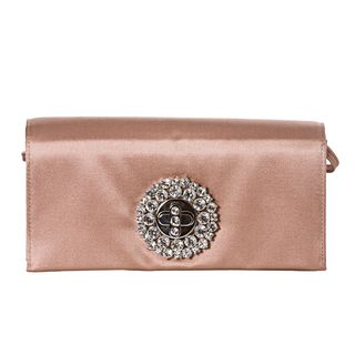 Prada Blush Rose Satin Crystal Turn lock Evening Bag