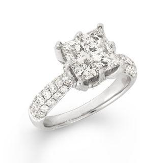 14k White Gold 4ct TDW Princess cut Diamond Engagement Ring (F G, I1
