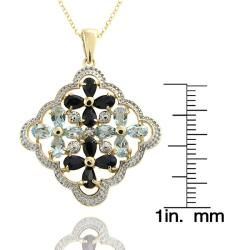 18k Gold over Silver Sapphire, Blue Topaz and Diamond Flower Necklace