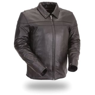 FMC Mens Shirt Collared Black Motorcycle Jacket