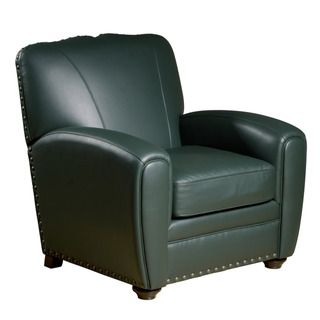 Cardiff Green Leather Press Back Club Chair
