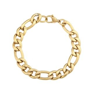 Stainless Steel and Gold IP Mens Figaro Bracelet