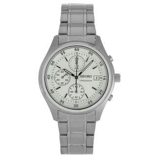 Seiko Mens Stainless Steel White Dial Chronograph Watch