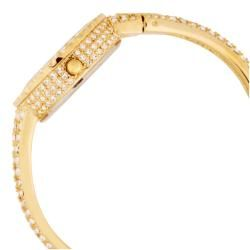 Burgi Womens Sizzling Diamond and Crystal Gold tone Bangle Watch