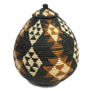 Ukhamba Black and Brown Beer Basket (South Africa)