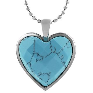 Stainless Steel Turquoise colored Glass Heart Necklace