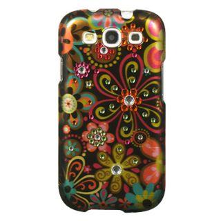 Premium Samsung Galaxy S3 Black Flower Rhinestone Case