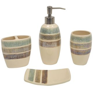 Rayan Beige pinstriped Boutique Ceramic Four piece Bath accessory Set
