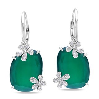 Miadora Sterling Silver Gemstone Flower Earrings