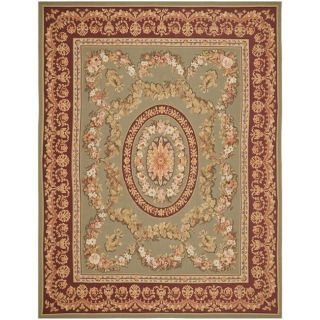 Hand knotted French Aubusson Taupe Red Wool Rug (10 x 14
