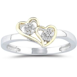 10k White Gold Diamond Double Heart Ring