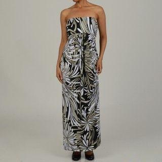 Jonathan Martin Womens Floral Strapless Maxi Dress