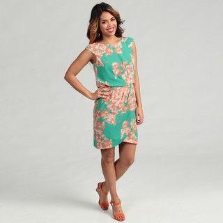 Jessica Simpson Womens Green/ Orange Ruched Dress FINAL SALE
