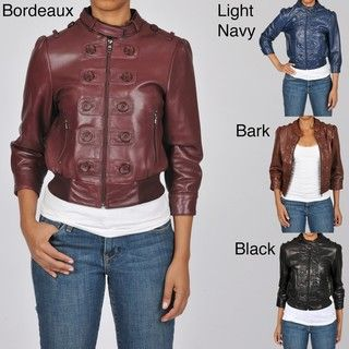 Knoles & Carter Womens Plus Size Marching Bomber Leather Jacket
