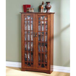 Glass Paneled 6 shelf Oak Media Cabinet
