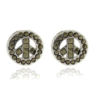 Silver Overlay Marcasite Peace Symbol Stud Earrings