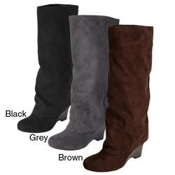 Glaze by Adi Womens Faux Suede Tall Boots