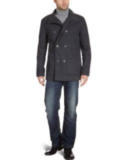 Ben Sherman Mens Herringbone Melton Peacoat Clothing