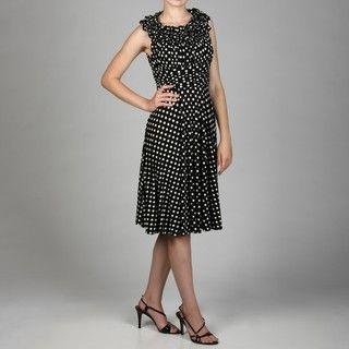 Jessica Howard Womens Petite Ruffle Neck Ruche Waist Fit Dress