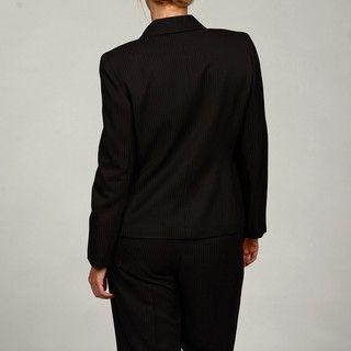 Evan Picone Womens 1 Button Shawl Collar Pinstripe Pant Suit