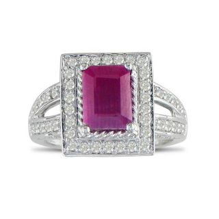 14k White Gold Ruby and 2/3ct TDW Diamond Ring (H I, I1 I2