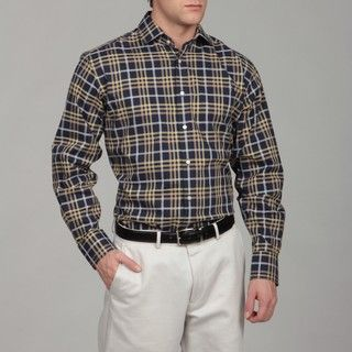 Thomas Dean Mens Plaid Woven Shirt